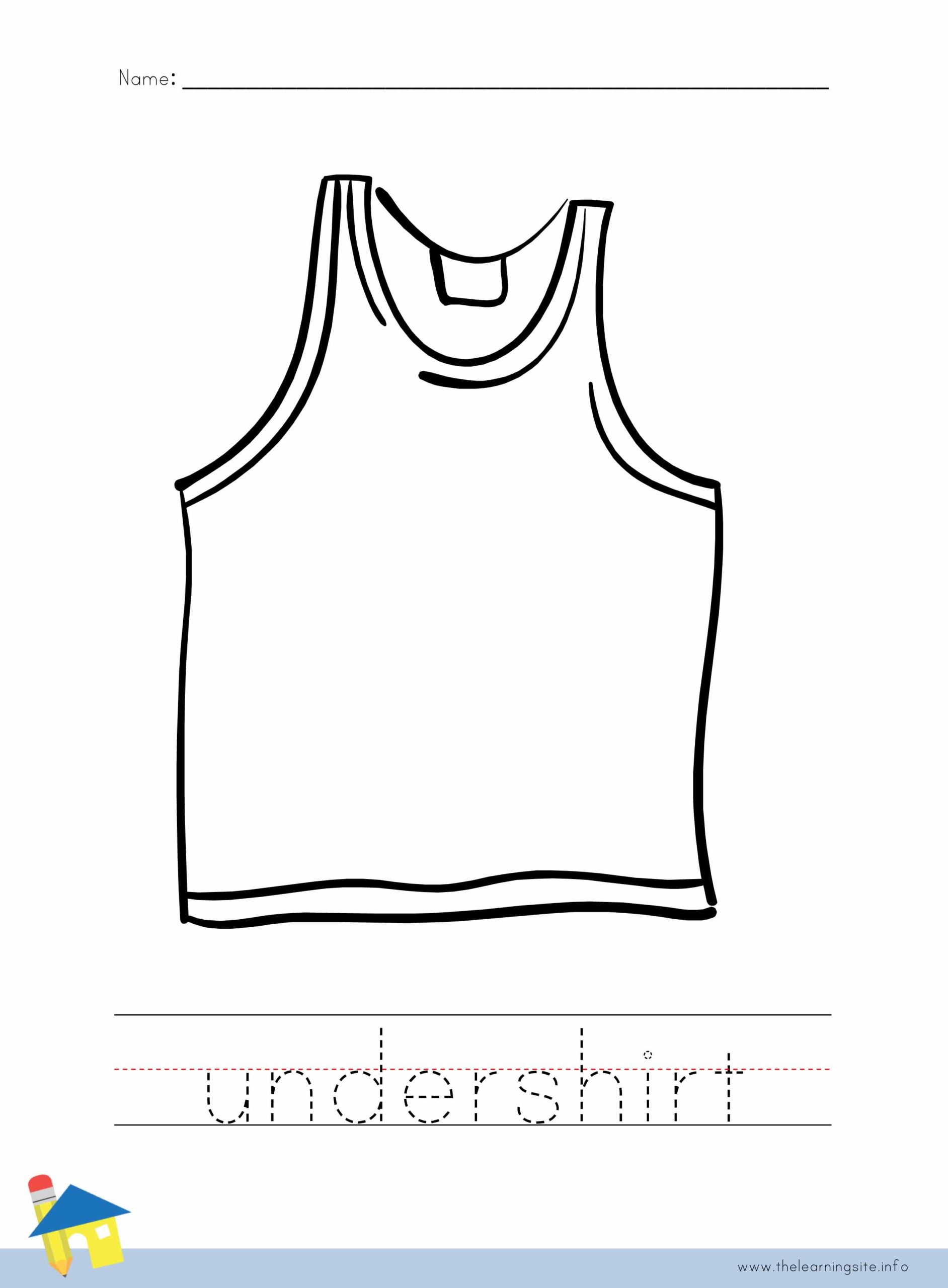 Undershirt Coloring Worksheet The Learning Site