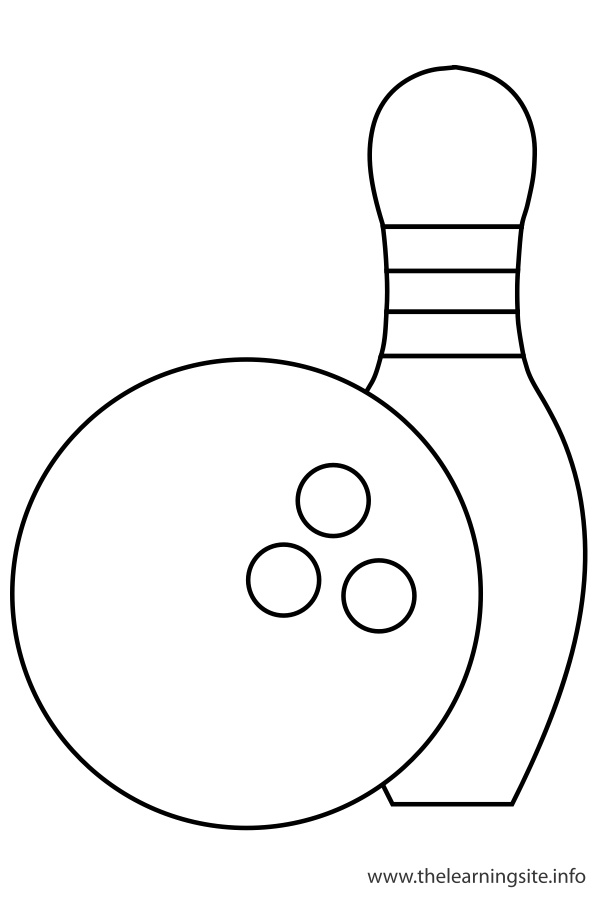coloring page outline sports bowling ball and bowling pins
