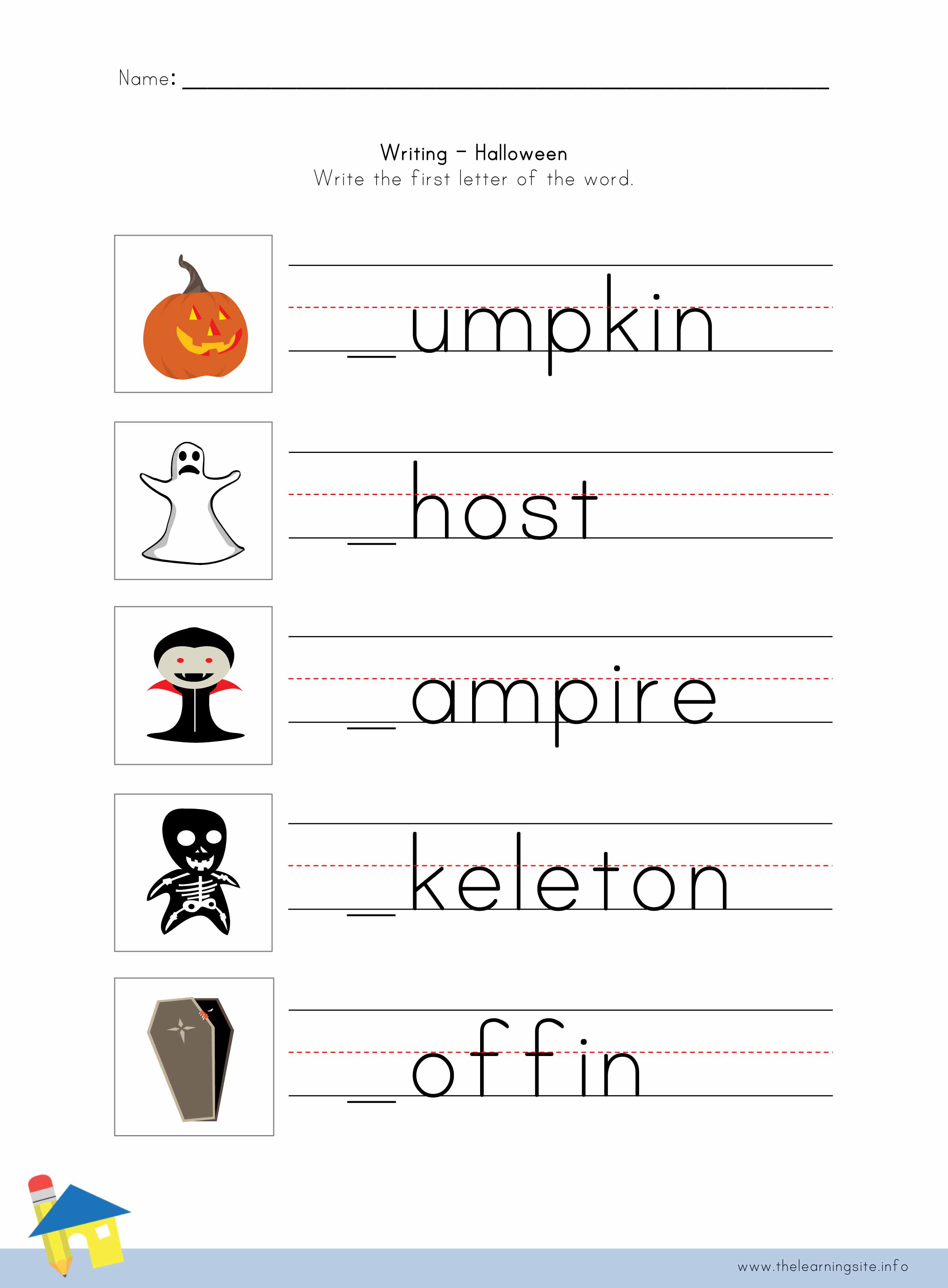 Halloween Writing Worksheet Re