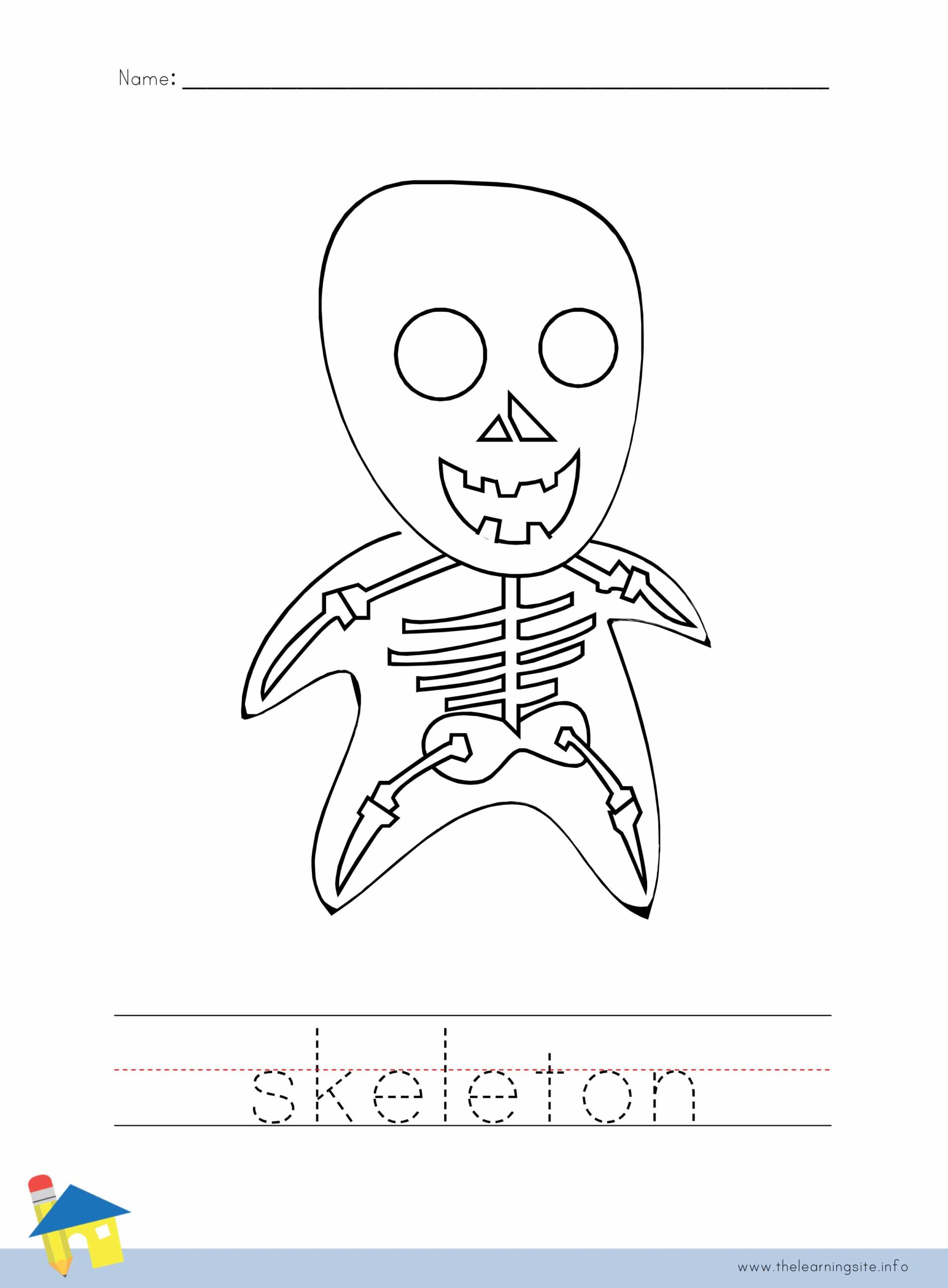Skeleton Coloring Worksheet The Learning Site