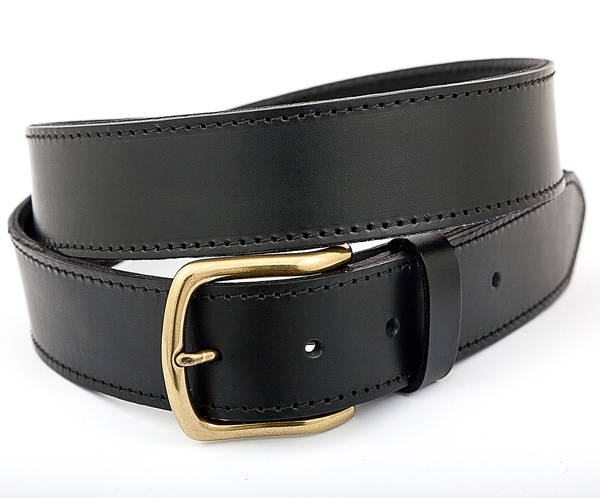 40cm Black Leather Money Belt with Brass Buckle