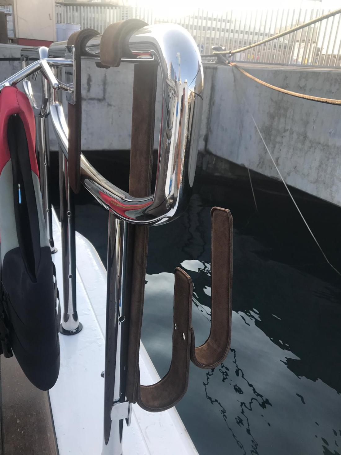Hand-made Leather Kayak Brackets for luxury yacht