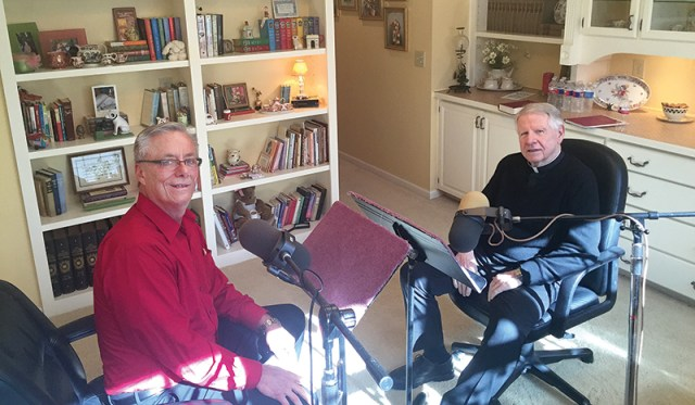 Chuck Jansen, a parishioner of Church of the Ascension in Overland Park records Msgr. Tom Tank's faith story. Jansen produces faith stories on CDs and downloadable MP3s.