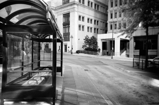 This photo of a bus stop is one of the many photos shot by homeless men who stayed at Shalom House in Kansas City, Kan. The photos were supposed to represent hope.