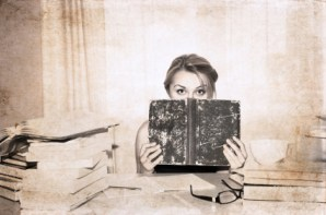 artwork  in retro style,  girl, preparation for exams