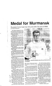 Murmansk Medal for Stanley Hammer Article