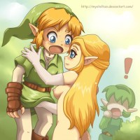 zelda making a handjob to link while saria is watching the surprisly
