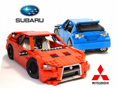 Subaru   THE LEGO CAR BLOG Lego Evo X vs Impreza STI