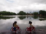 Cycling past the large lake on to the next temple
