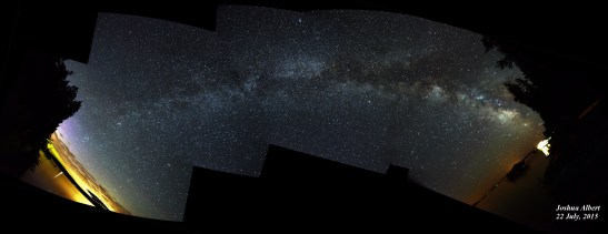 My perspective of the Milky Way, taken with multiple exposures using the star tracker and stitched together. Click to zoom in.
