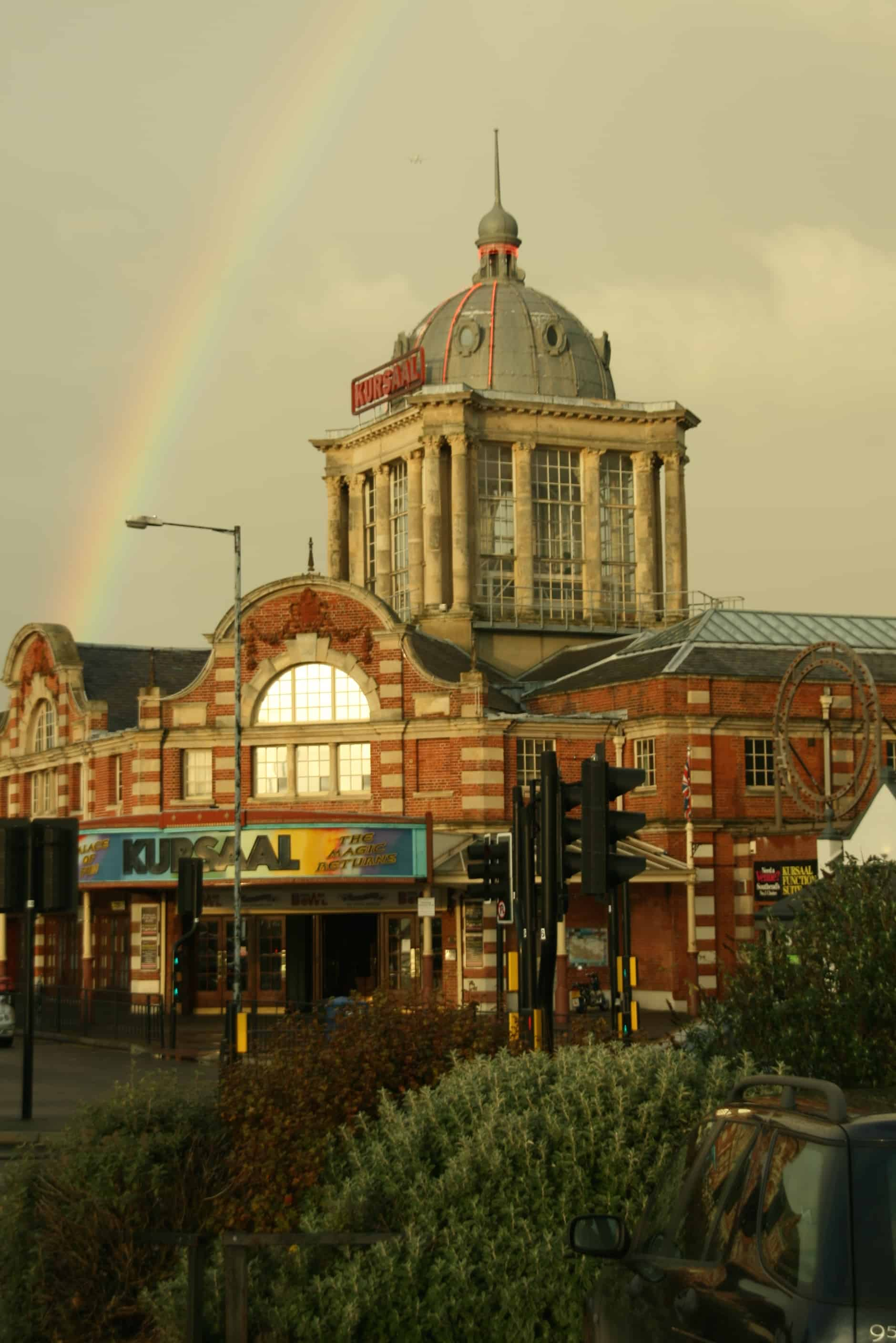 Rainbow over the Kursaal entertainment building in Southend, Essex