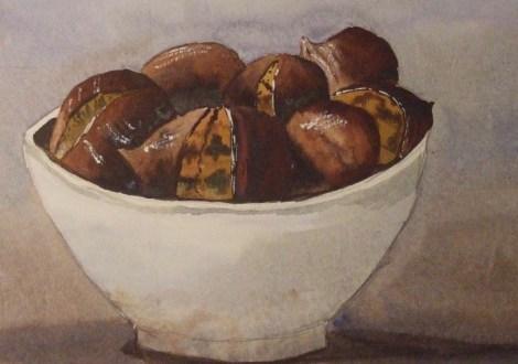 Sweet chestnuts awaiting the roasting pan. Image: John Coupe