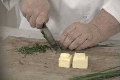 Rosemary's knife skills make quick work of finely chopped chives