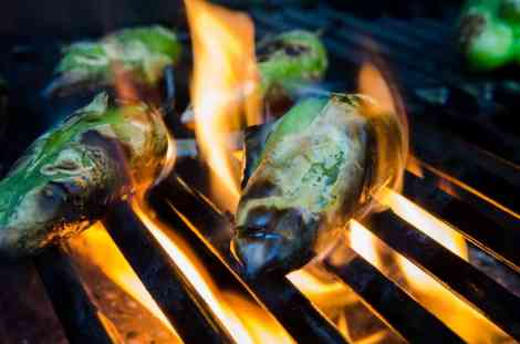 Mexican small green peppers roast on flames on a grill (c) Kelly Van Dellen