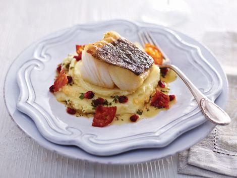 Pan fried skrei, a Norwegian specialty