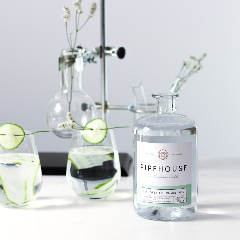 Distilled Pipehouse gin with Earl Grey tea and cucumber