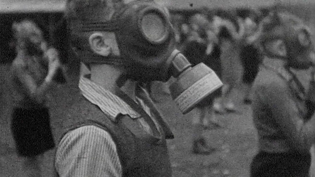 Kid with gas mask