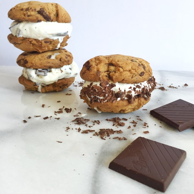 Lindt Chocolate Chip Cookie Ice Cream Sandwiches