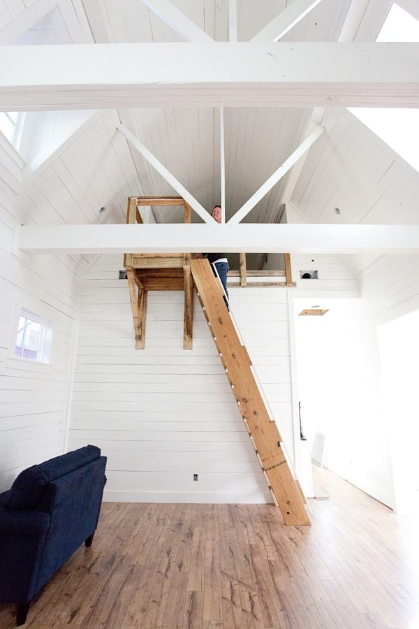 Bungalow Barn Update Loft Stairs The Lettered Cottage | Spiral Staircase Into Loft | Attic Stairs | Ladder | Bedroom | Space Saver | Staircase Ideas