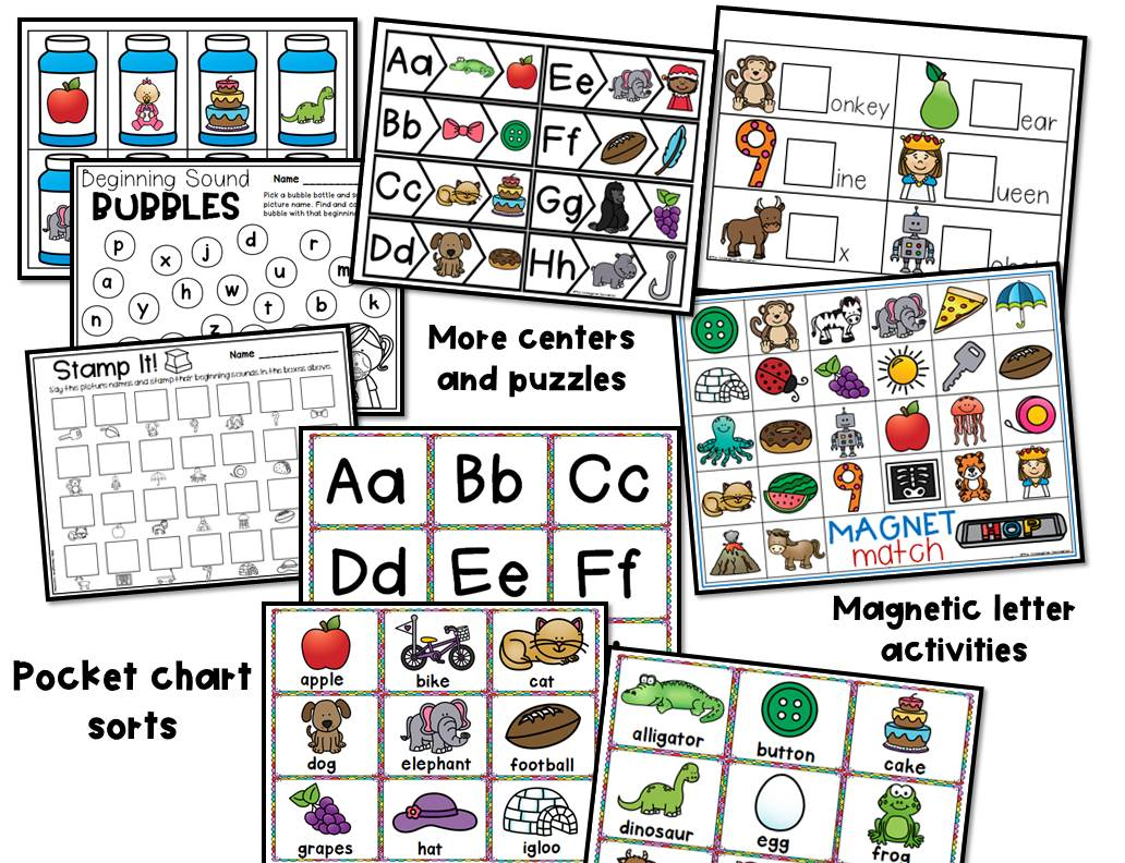 Beginning Sound Centers And Activities For Pre K And