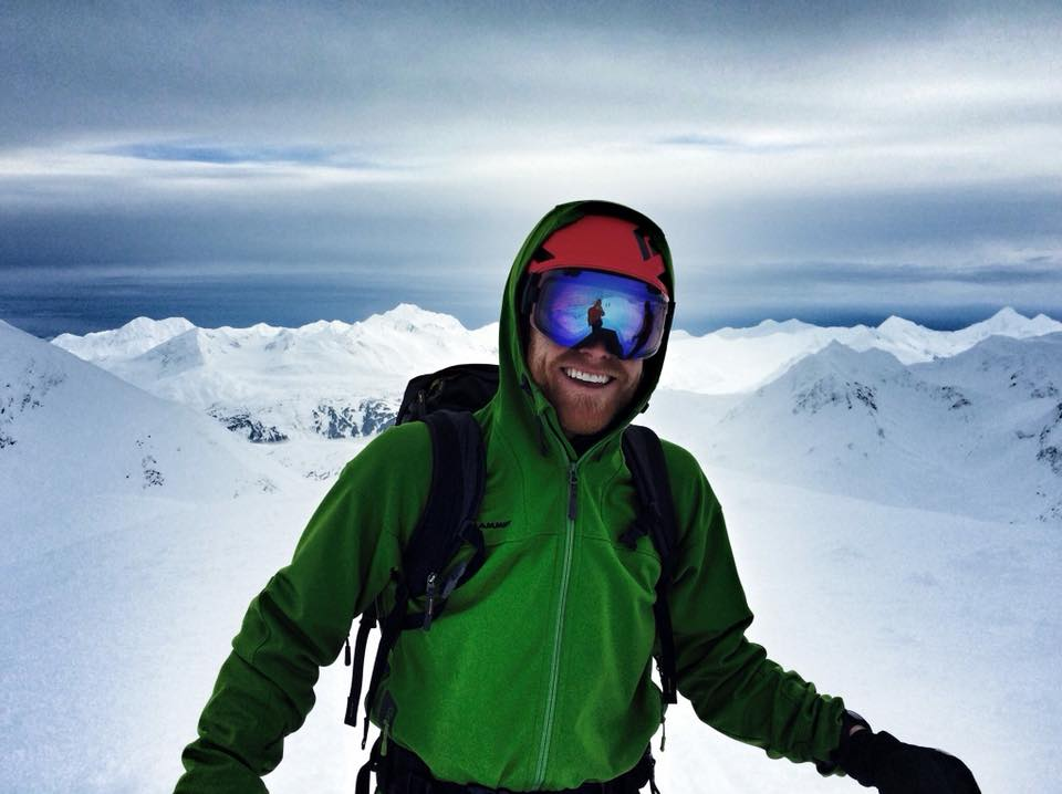 Dr Justin Libby skiing in the Alaskan backcountry