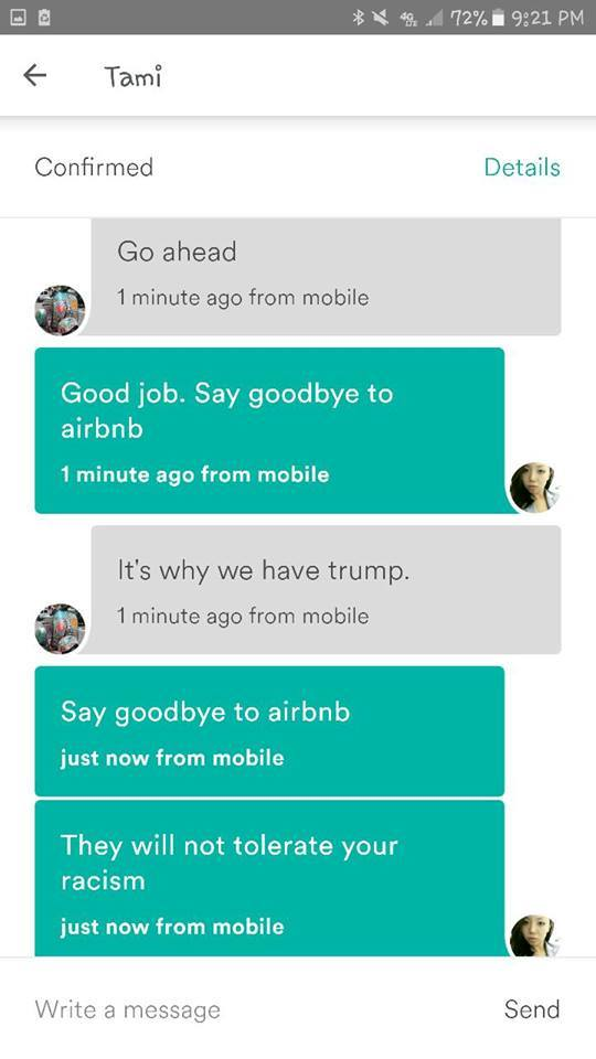 "AirBnB Host Refuses To Rent To Asian Woman: ""It's Why We Have Trump."""