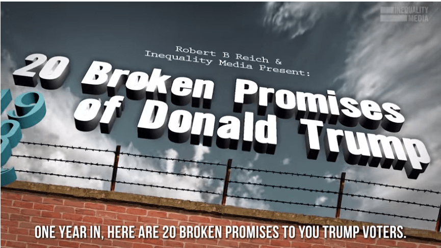 Trump Voters: One Year in, and he's Broken20 Big Promises He Made to You