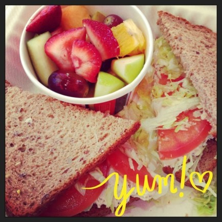 Chicken Salad Sandwich and Fruit Salad (from Zoes)