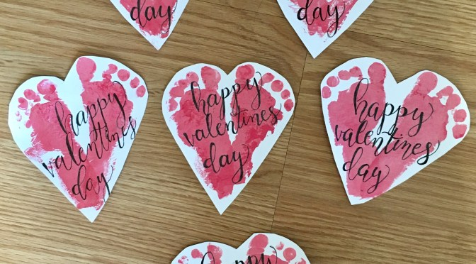 Monthly Footprint Art: DIY Valentine's Day Cards