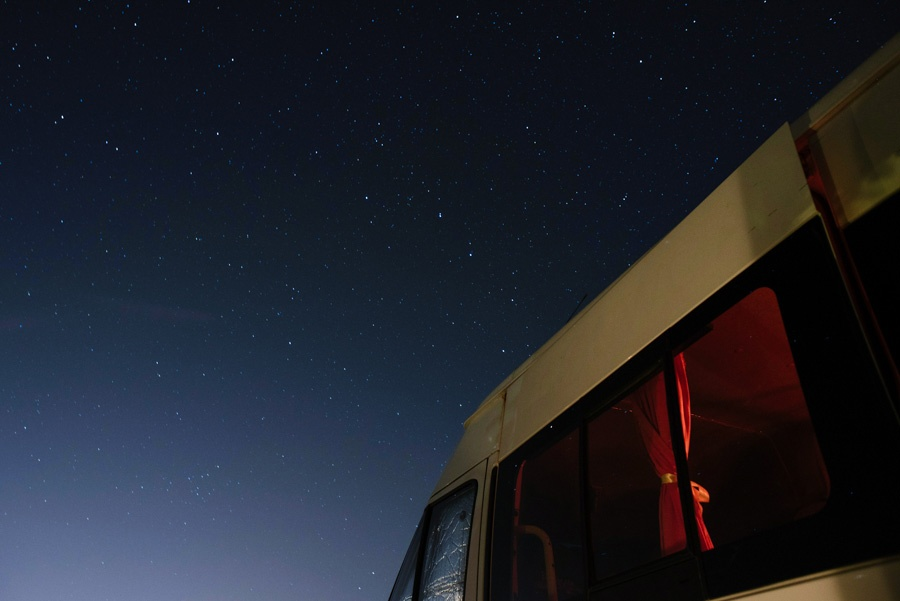 campervan against a starry sky