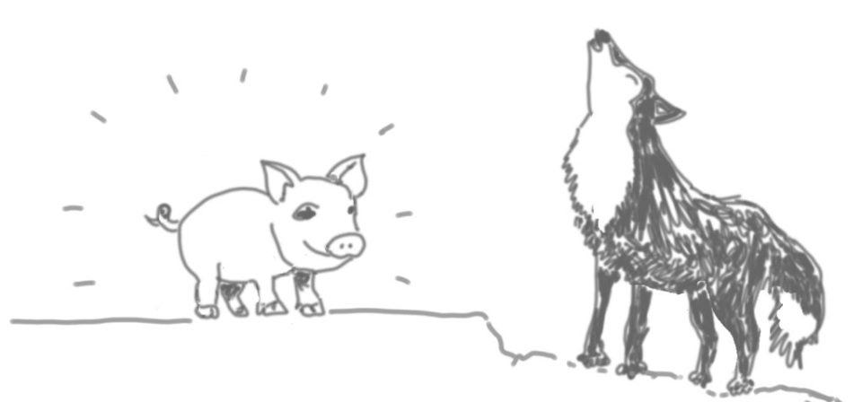 cartoon image of a pig and a wolf