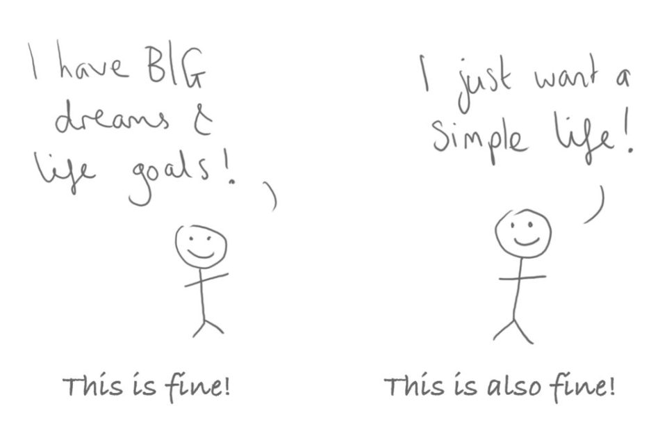Cartoon doodle of 2 stick people, one who wants a Big life, and one who wants a simple life