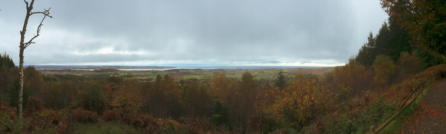 Panoramic image of a autumnal tree filled valley