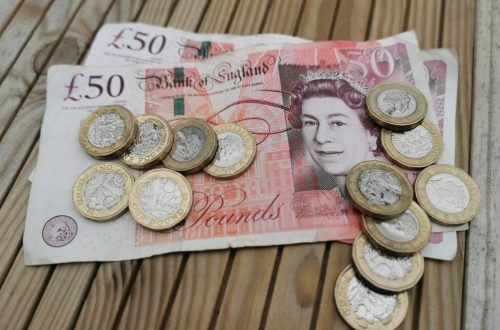image of two £50 pound notes and some loose pound coins on a wooden background