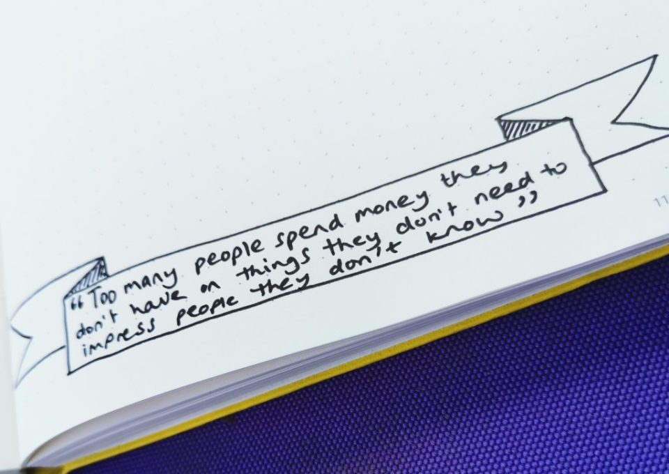Close up image of a bullet journal quote