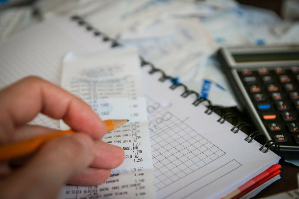 image of receipts and budgeting book