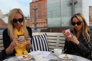 Afternoon tea at Soho House and taking advantage of the wifi! Since Jenny and Gabby were on roaming.