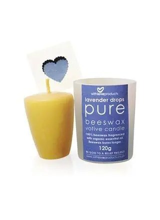 A little light and love goes a long way, and With Love candles add both to your home. This hand-poured beeswax candle is the perfect present, packaged in a glass votive holder and complete with a gorgeous little gift card. With Love candles are made from pure raw beeswax with a cotton wick, and fragranced with essential oils. The calming scent of lavender oil is known to ease anxiety and sleeplessness, making the Lavender Drops candle ideal for your bedroom or meditation space.