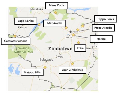 Zimbabue mapa
