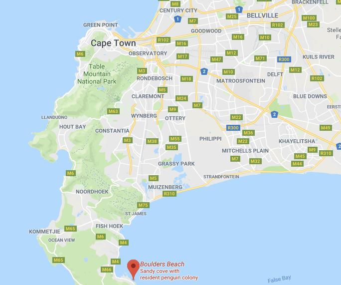 Boulders Beach - Cape Town - map
