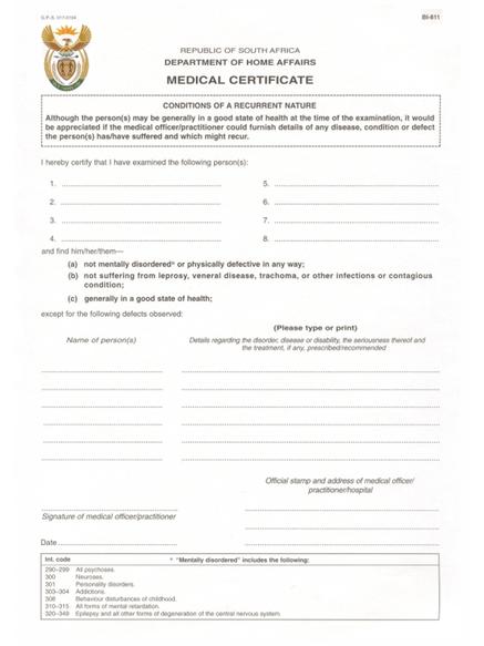 Critical Skills Visa South Africa - Medical Certificate