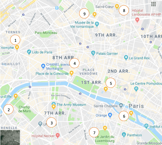 Paris France map 10 places