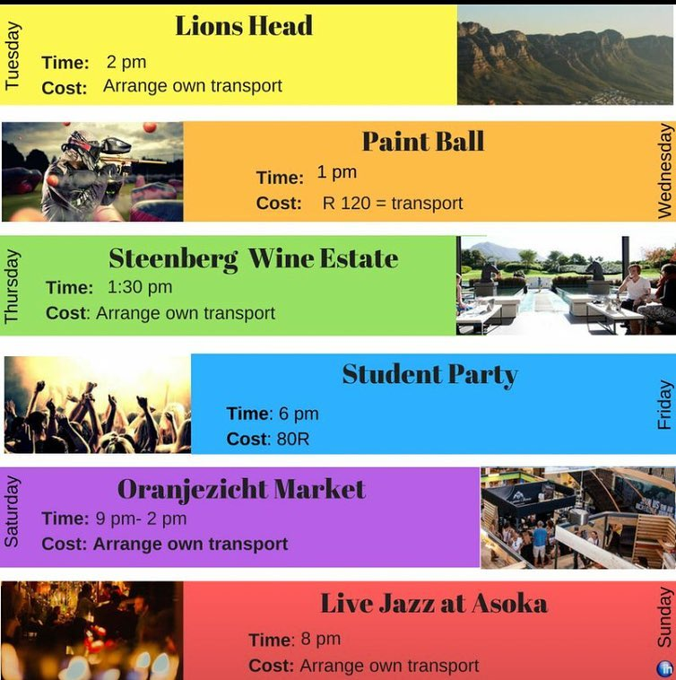 International House Cape Town - South Africa - Weekly Activities