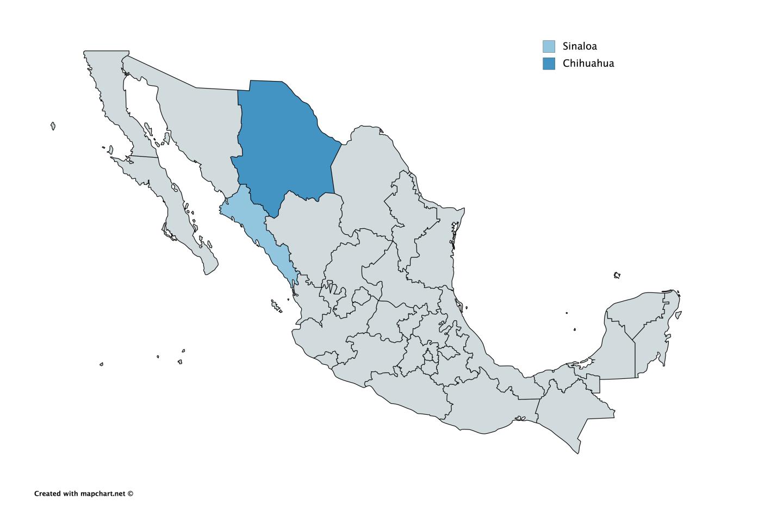Mapa de mexico Sinaloa Chihuahua