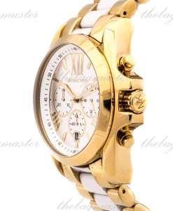 Michael Kors Ladies Gold Plated/Ceramic Michael Kors `Bradshaw` Watch MK5743