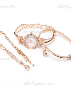 Anne Klein Women's AK/1868RGST Swarovski Crystal-Accented Rose Gold-Tone Bangle Watch and Bracelet Set