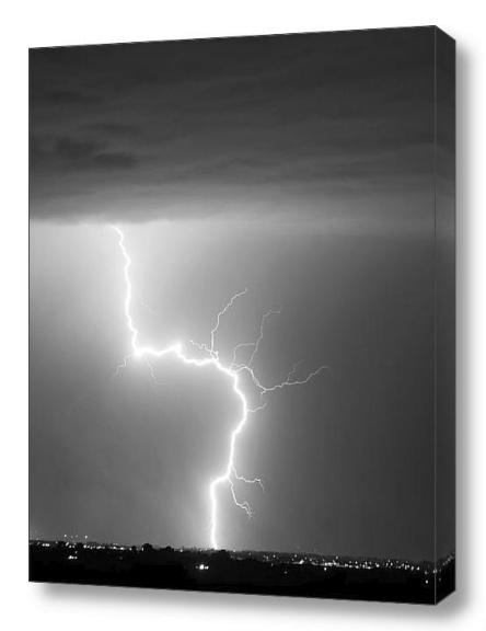 C2G Lightning Strike Black White fine art photography canvas