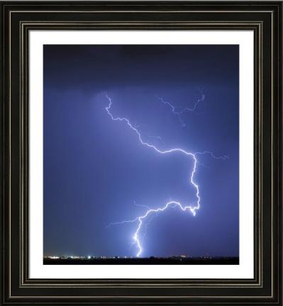 Nature Strikes Fine Art Lightning Photography Framed Print