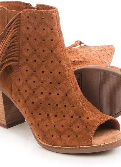 TOMS Majorca Perforated Peep-Toe Ankle Boots with Fringe/ Sale Alert