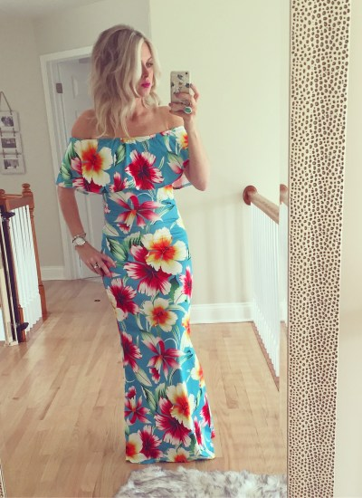 Floral Off The Shoulder Maxi Dress With Ruffle